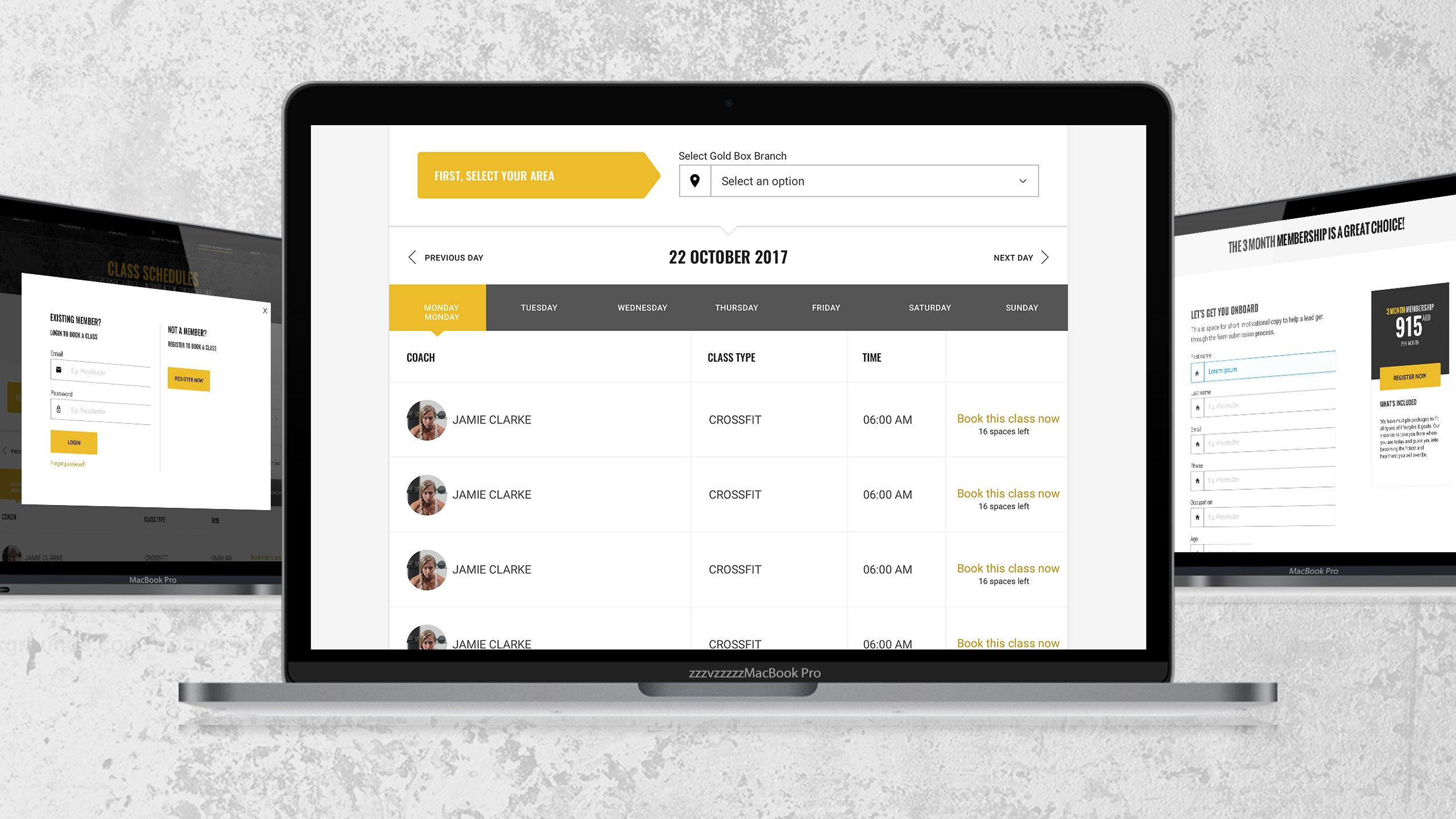 Responsive website for GoldBox Crossfit
