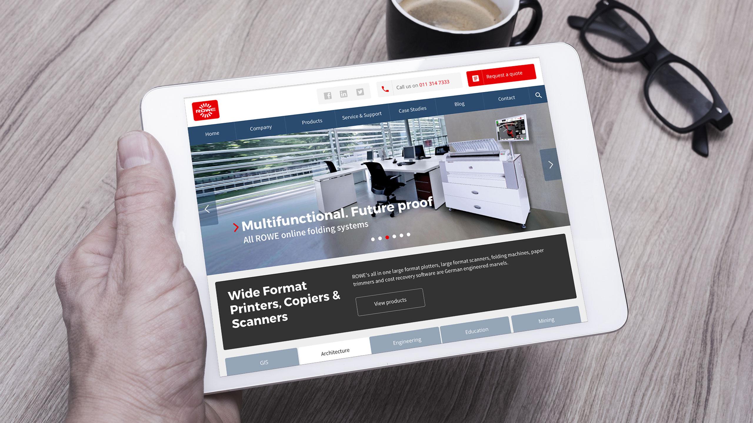 Tablet - Responsive website for ROWE SA