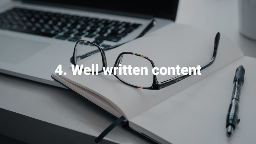 Successful websites have well written content.