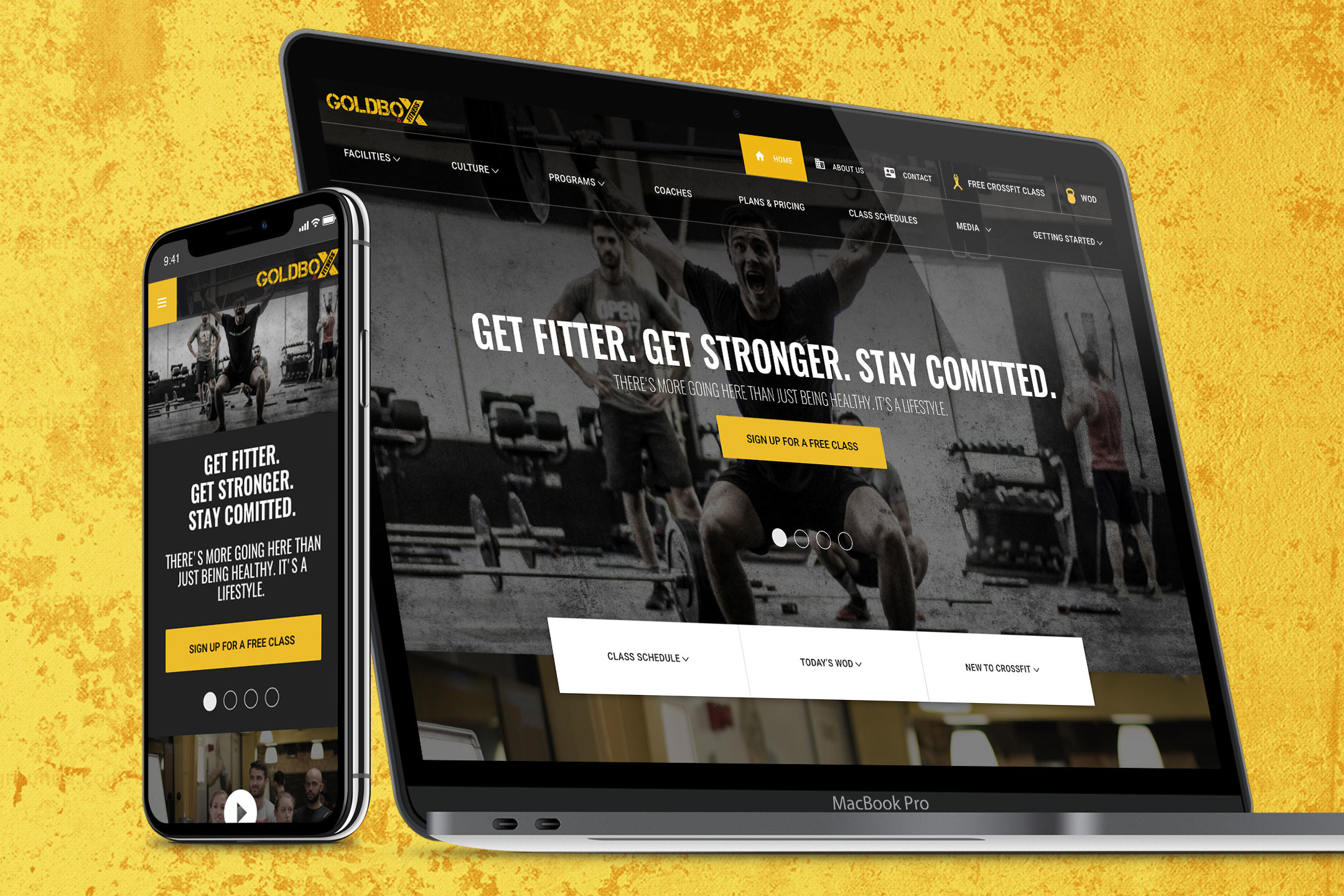Responsive website for GoldBox Crossfit