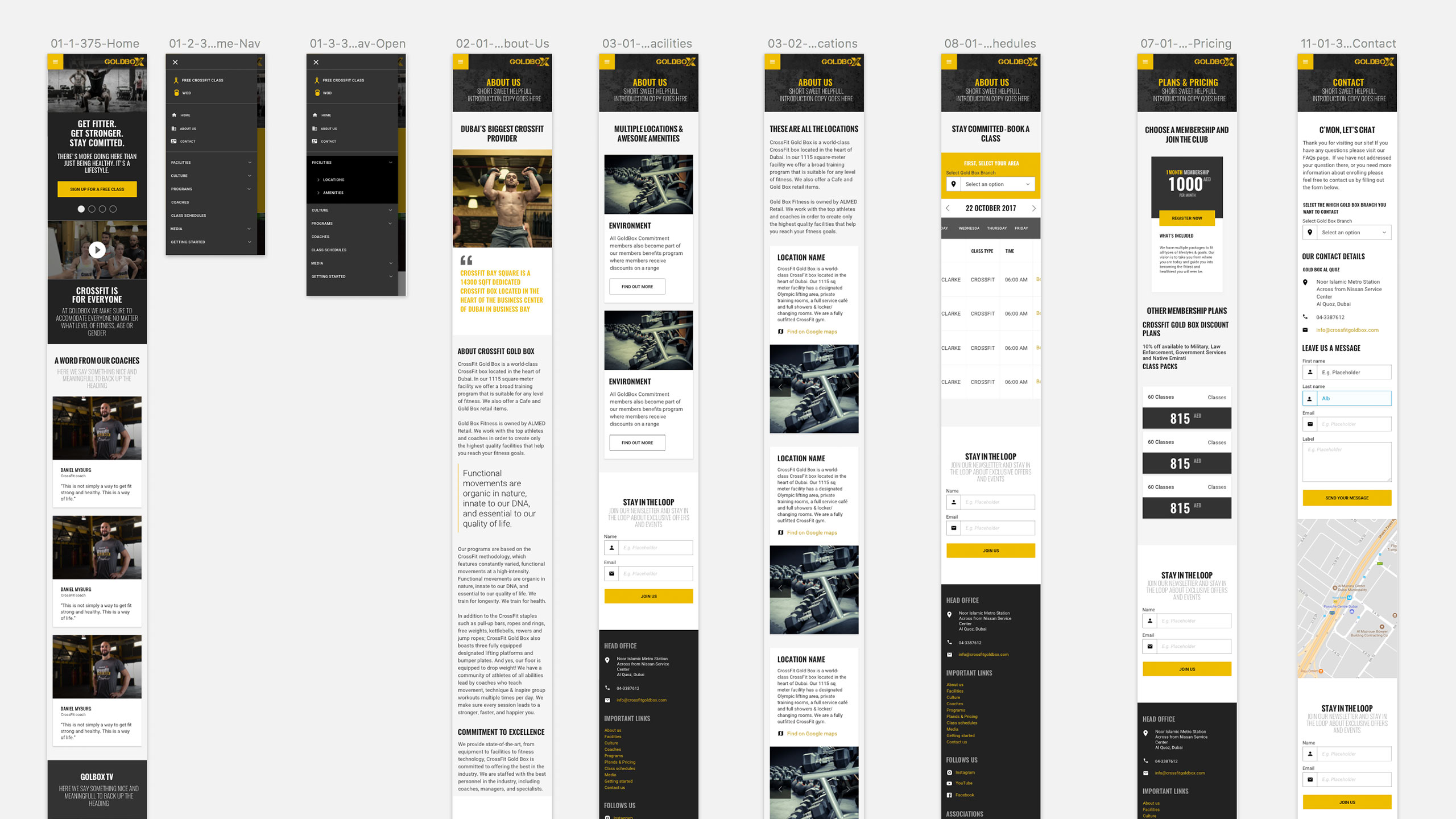 Mobile screens for GoldBox Responsive Website